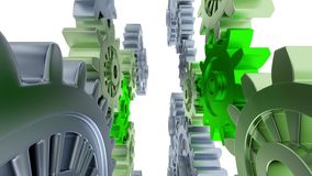 Linear Ride Between Left and Right Vertical Gray Gears and Small Green Gears. On a white background royalty free illustration