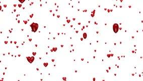 Linear Ride Through Many Tiny Red Hearts Rain stock video