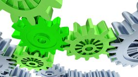 Linear Ride Under Silver and Green big Gears. On a white background vector illustration