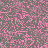 Linear rose background. Seamless pattern with lonear roses Royalty Free Stock Photography