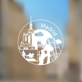 Linear round logo with statue of Bear and strawberry tree and other lanmarks of Madrid, Spain Stock Image