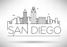 Linear San Diego City Silhouette with Typographic Design Stock Image