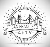 Linear San Francisco City Silhouette with Typographic Design Stock Photography