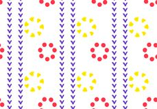 Linear seamless geometric pattern of red and yellow flowers. Petals of squares, heart and circle. Ornament in ethnic style.  royalty free illustration