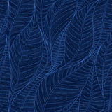 Linear seamless texture on the basis of abstract leaves. Inverse background in dark blue tones Royalty Free Stock Images