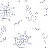 Linear seamless vector pattern of a sea steering wheels,anchors,seagulls. vector illustration