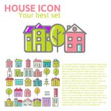 Linear set of house icons Royalty Free Stock Image