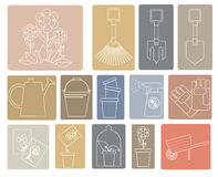 Linear set of icons with garden tools Stock Photography