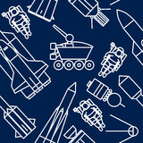 Linear set of icons relating to space exploration Stock Photography