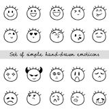 Linear Set of Simple Hand-drawn Emoticons Royalty Free Stock Photography