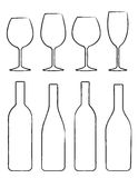 Linear set of wine bottle and glasses Stock Photo