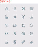 Linear sewing  icon set Royalty Free Stock Images
