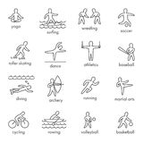 Linear  shapes athletes. Icon and symbols for popular spor Royalty Free Stock Photo