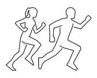 Linear shapes runners. Outline silhouettes runners. Stock Photos