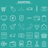 Linear shopping icon for website and app Royalty Free Stock Images