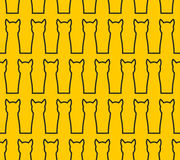 Linear Silhouette cat seamless pattern. Background of  pet. Blac Stock Photo