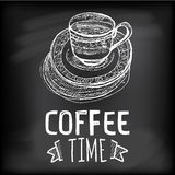 Linear sketch coffee cup for coffee time Royalty Free Stock Photos