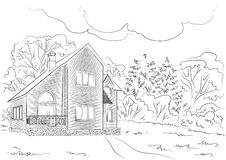 Cottage in the woods Royalty Free Stock Images
