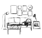 Linear sketch of an interior. Hand drawn vector illustration of a sketch style. Sofa and other furniture Royalty Free Stock Photography