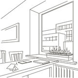 Linear sketch interior of  workspace near the window Stock Photography