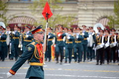 Linear soldiers during a parade dedicated to the Victory in the great Patriotic war on red square. Royalty Free Stock Photos