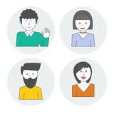 Linear style characters of people . Avatar woman and a man . Vector Royalty Free Stock Photos