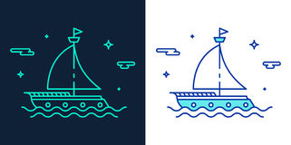 Linear style icon of a boat vector Stock Photo