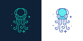 Linear style icon of an octopus vector Royalty Free Stock Photo