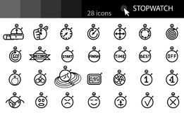 Linear style icons. STOPWATCH set in a linear style icons Stock Image
