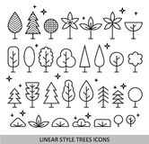 Linear style trees icons Stock Photography