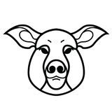Linear stylized drawing of pig swine Royalty Free Stock Image