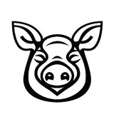 Linear stylized drawing of pig swine. For icon or sign template Stock Photos