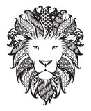Linear stylized lion. Black and white graphic. Vector illustration can be used as design for tattoo, t-shirt, bag,poster,postcard. Linear stylized lion. Black Stock Image