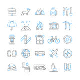 Linear symbols of camping and tourism. Royalty Free Stock Images