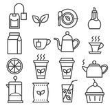 Linear tea icons set royalty free illustration