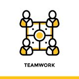 Linear teamwork icon for startup business. Pictogram in outline style. Vector flat line icon suitable for mobile apps, websites an. Vector modern flat design Stock Images