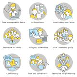 Linear Teamwork Icons Set. With partnership collaboration cooperation conference analytics teambuilding human resources management isolated vector illustration Stock Photo