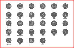 Linear thin icons symbols set. Vector illustration of thin line icons for website. Linear symbols set Stock Image