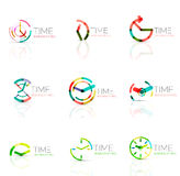 Linear time abstract logo set, connected multicolored segments Royalty Free Stock Image
