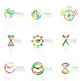Linear time abstract logo set, connected multicolored segments Stock Photography
