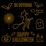 Linear trendy happy halloween silhouettes witch,pumpkin, elements, spider sticker, candy,monster, candle, moon, sky Royalty Free Stock Photo