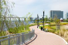 Linear urban park path. Riverwalk area of downtown Jacksonville, Florida Royalty Free Stock Images