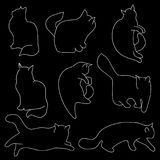 Linear vector art: cat silhouettes on black isolated background. Different poses: sitting, lying, resting, playing, hunting. Stock Photography