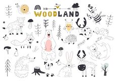 The linear vector children illustration set of cute forest animals.