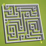 Linear vector illustration. Confused square maze Stock Images