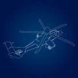 Linear Vector illustration of a military helicopter on a blue background. Stock Image