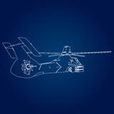 Linear Vector illustration of a military helicopter on a blue background. Stock Photo