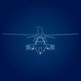 Linear Vector illustration of a military helicopter on a blue background. Stock Images