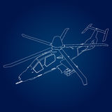 Linear Vector illustration of a military helicopter on a blue background. Royalty Free Stock Photography