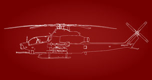 Linear Vector illustration of a military helicopter on a red background. Stock Images